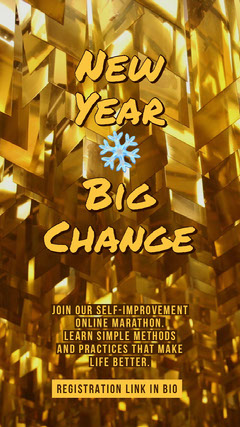 Gold New Year Coaching Service Instagram Story Ad Seminar Flyer
