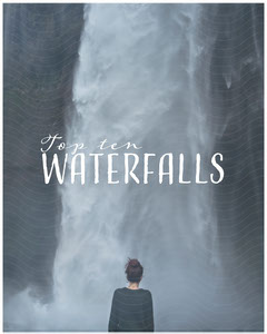Blue Waterfall Guide Instagram Portrait Graphic with Woman Hike