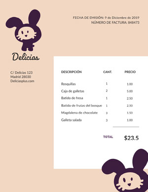 food invoice  Factura