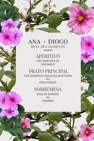 floral wedding menu Menu