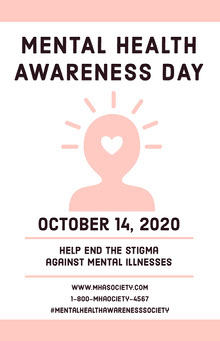 Pink Mental Health Awareness Day Poster Poster