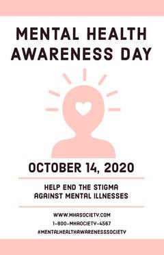 Pink Mental Health Awareness Day Poster Awareness