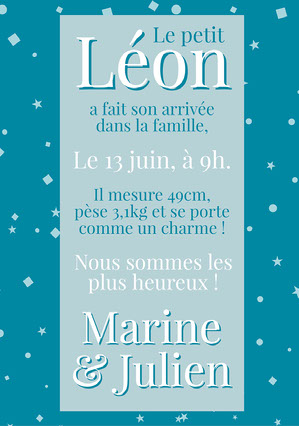 Blue and White Confettis Birth Announcement Card Annonce