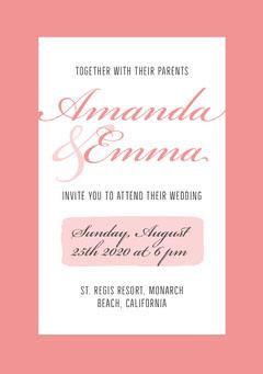 pink border lgbt wedding invite  Frame