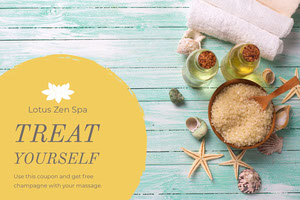 Blue and Yellow Zen Spa Flyer Coupon
