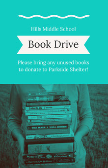 Green and White Book Drive Poster School Posters