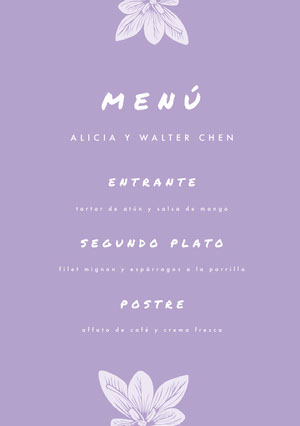 light purple wedding menu  Menú
