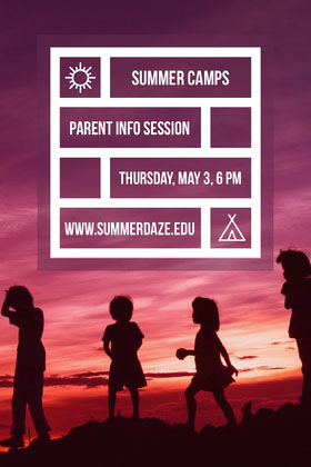 Summer Camp Flyer with Silhouettes of Children at Sunset Flyer