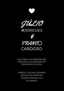 black and white wedding cards Cartão de felicitações aos noivos