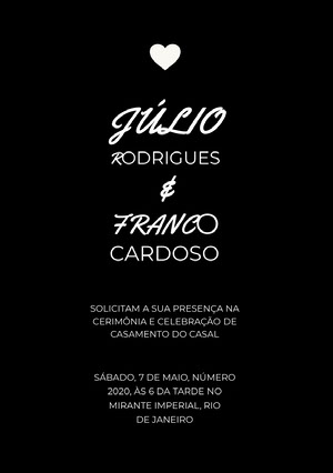 black and white wedding cards Convite de casamento