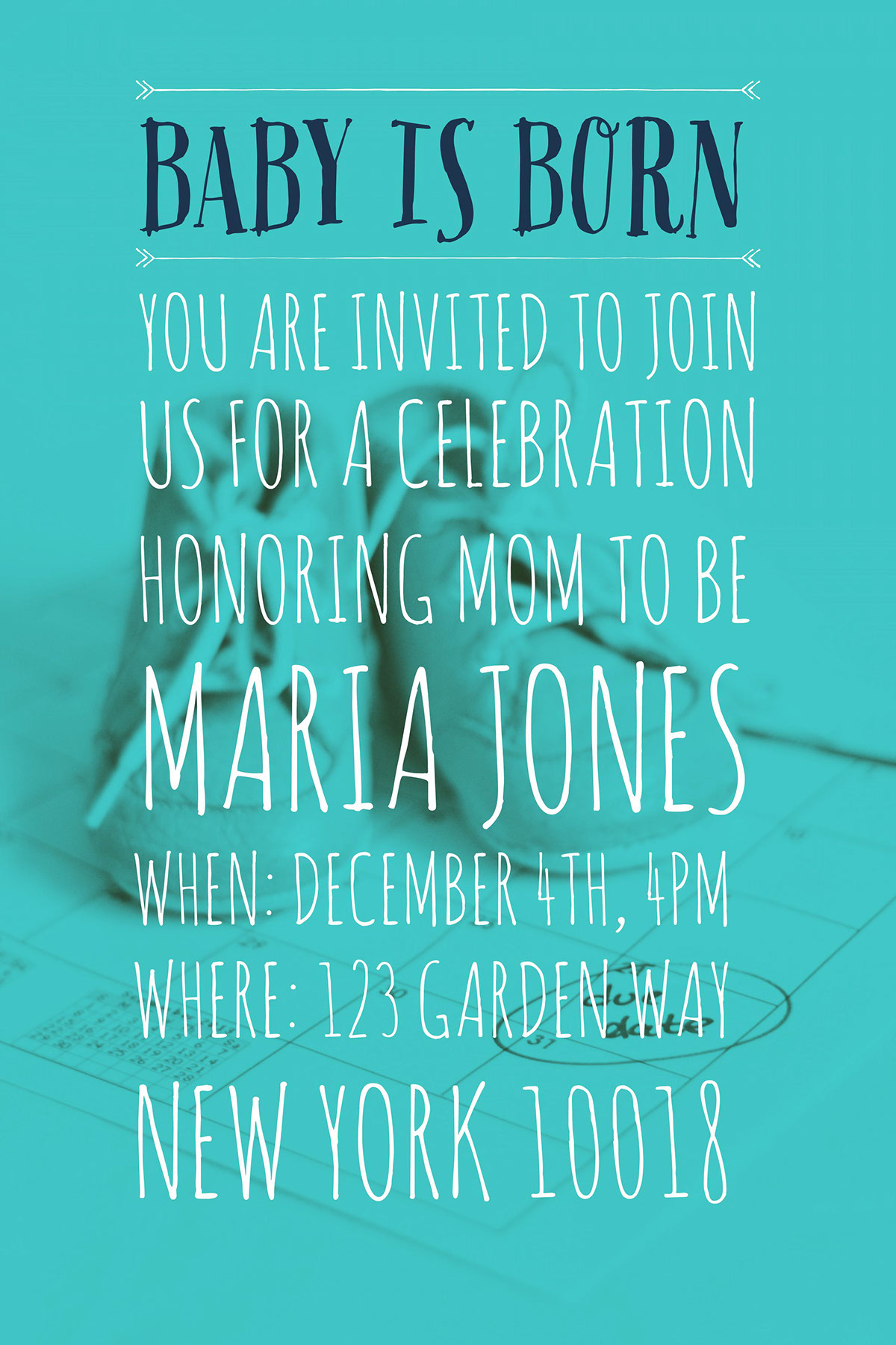 When: December 4th, 4pm Where: 123 Garden Way New York 10018 When: December 4th, 4pm Where: 123 Garden Way New York 10018 