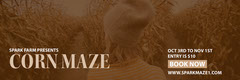 Beige Toned Corn Maze Autumn Event Facebook Banner Event Banner