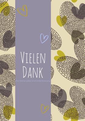 heart patterned thank you cards  Danksagungskarte