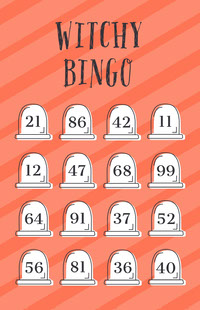 Orange Striped Gravestone Halloween Party Bingo Card Festa di Halloween