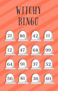 Orange Striped Gravestone Halloween Party Bingo Card Halloween Party Bingo Card