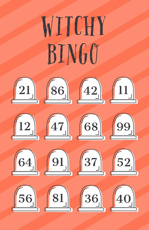Orange Striped Gravestone Halloween Party Bingo Card Cartazes de jogos