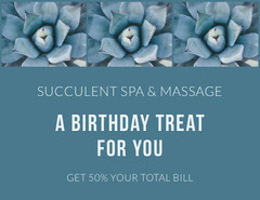 Blue Floral Spa and Massage Parlor Birthday Discount Coupon Massage Flyer