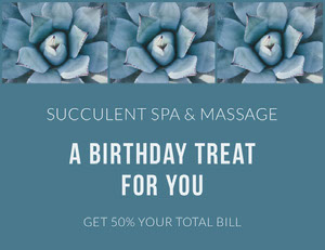 Blue Floral Spa and Massage Parlor Birthday Discount Coupon Bon