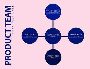 Pink and Blue Circular Organization Chart 조직도