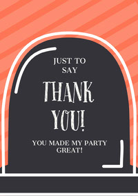 Orange Striped Gravestone Halloween Party Thank You Card Festa di Halloween