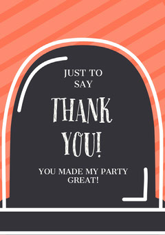 To Die For Halloween Thank You Card Halloween Party Thank you Card