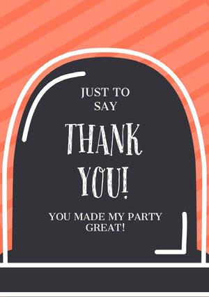 Orange Striped Gravestone Halloween Party Thank You Card Halloween Party