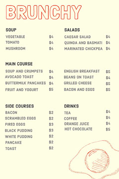 Restaurant Menu with Egg Brunch