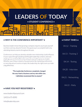 Orange and Blue Business Leader Conference Newsletter Graphic Newsletter