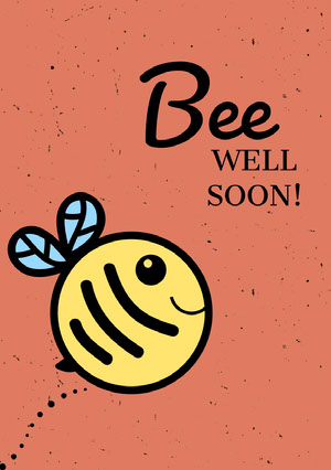 Orange Bee Pun Get Well Soon Card Genesungskarte