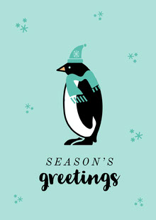 Winter Penguin Seasons Greeting Card Cartões
