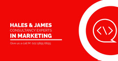 Hales & James<BR>Consultancy Experts<BR>In Marketing Red