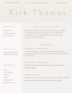 Brown Account Manager Resume Finance