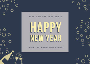 Navy Blue and White Happy New Year Card Happy New Year Messages