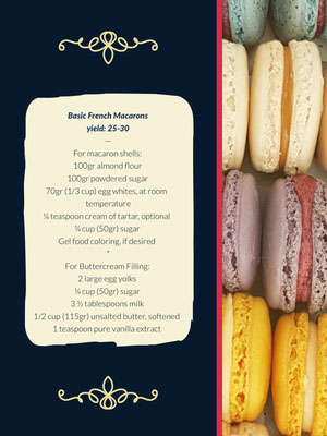 Basic French Macaroons Recipe Card 조리법 카드