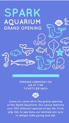 SPARK AQUARIUM Grand Opening Flyer
