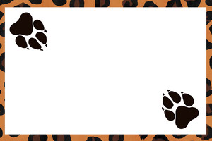 Animal Print Name Tag with Paws Nimikortti