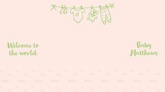 Peach Green Welcome To The World Baby Shower Zoom Background Widescreen Baby Shower