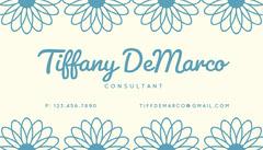 Blue Simple Floral Business Card Flowers