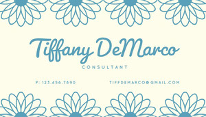 Blue Simple Floral Business Card Floral Business Card