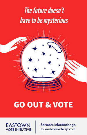 Red and White Go Out And Vote Poster Affiche de campagne