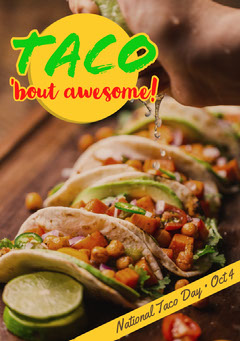 Yellow National Taco Day Flyer Food