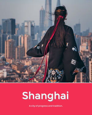 Red Shanghai Travel and Tourism Ad with Asian Woman in Cheongsam and City Cartolina di viaggio