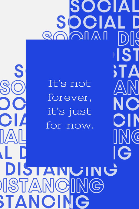 Blue and White Social Distancing Positive Saying Pinterest  Distanciamento social