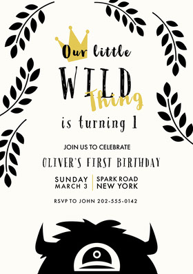Black, White and Gold, Birthday Party Invitation Card Birthday Invitation (Boy)