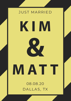 Yellow and Black Wedding Announcement Card Wedding Announcement