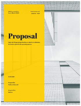 Yellow and Gray Business Proposal with Office Building 提案書
