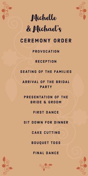 Orange Floral Wedding Program Programa de bodas