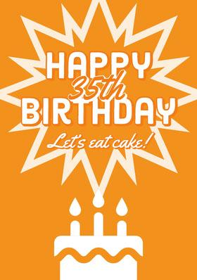 Orange Cake Happy 35th Birthday Card Bachelorette Party Invitation