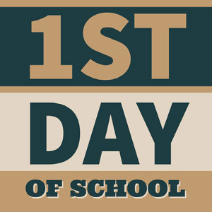 Brown and Blue First Day of School Square Instagram Graphic First Day of School Sign