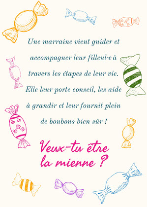 Multicolour Sweets Godmother Proposal Card Invitation de baptême